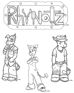 Rhynotz free downloadable character coloring book